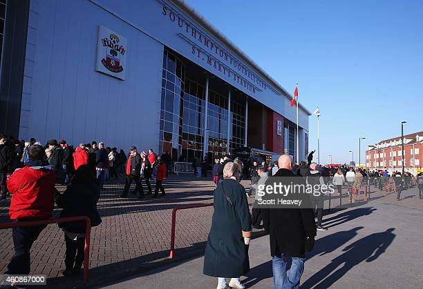 Fans walk outside the ground prior to the Barclays Premier League match between Southampton and Chelsea at St Mary's Stadium on December 28 2014 in...