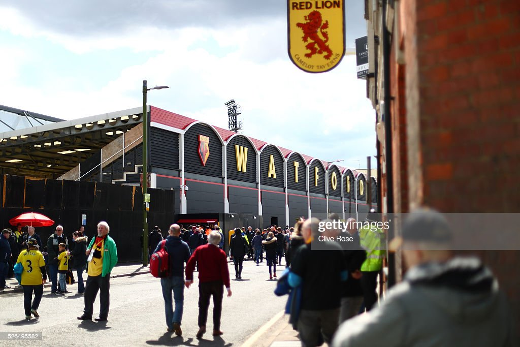 Fans walk outside the stadium prior to the Barclays Premier League match between Watford and Aston Villa at Vicarage Road on April 30, 2016 in Watford, England.