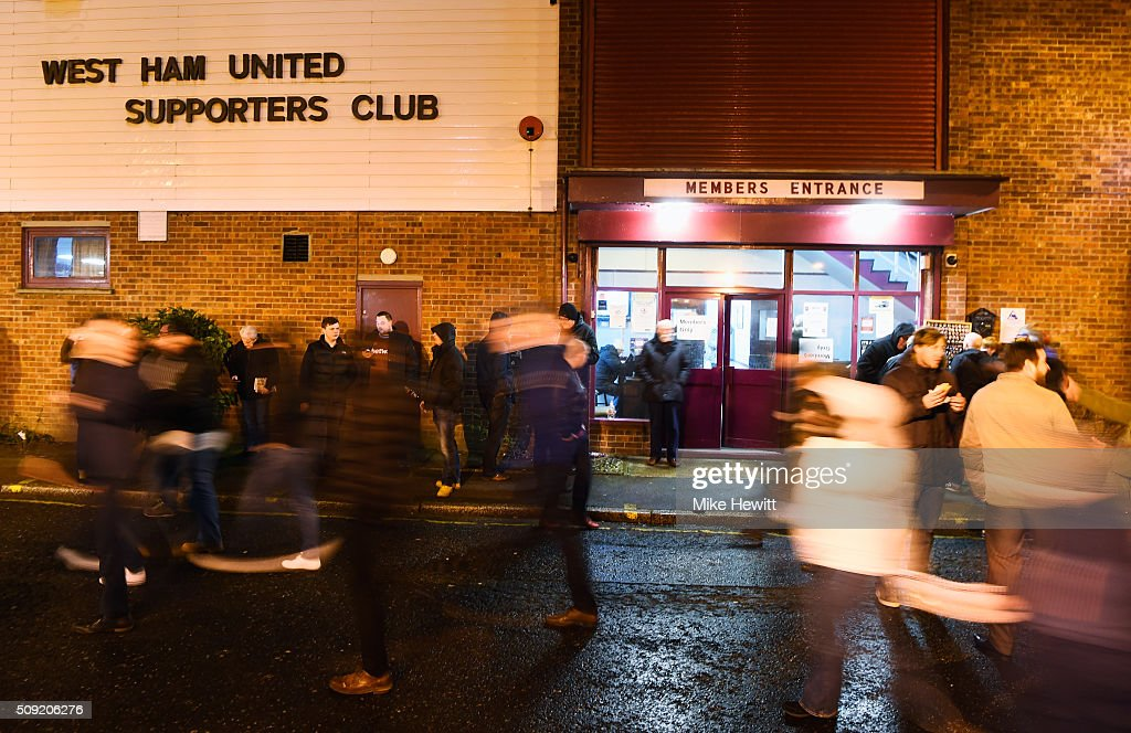 Fans walk outside the stadium prior to the Emirates FA Cup Fourth Round Replay match between West Ham United and Liverpool at Boleyn Ground on February 9, 2016 in London, England.