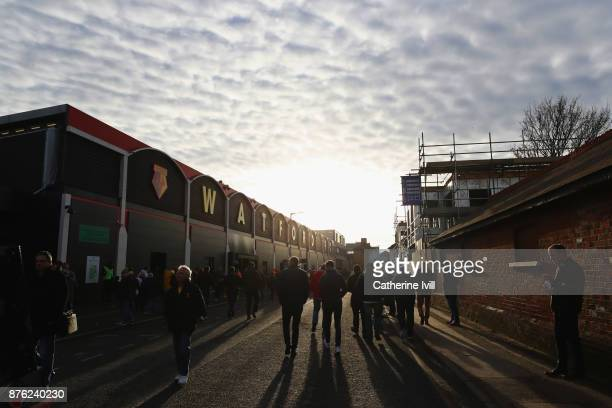 Fans walk outside the stadium prior to the Premier League match between Watford and West Ham United at Vicarage Road on November 19 2017 in Watford...