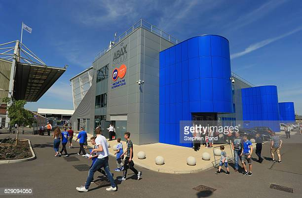 Fans walk outside the stadium prior to the Sky Bet League One match between Peterborough United and Blackpool at ABAX Stadium on May 8 2016 in...