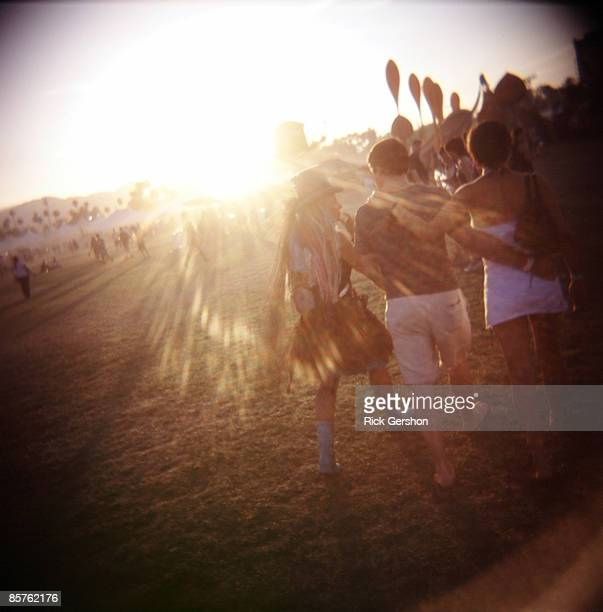 Fans walk the festival grounds at the Coachella Valley Music and Arts Festival at the Empire Polo Fields on April 27 2008 in Indio California The...