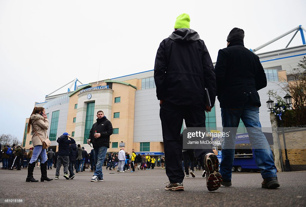 Fans walk to the ground prior to the FA Cup Third Round match between Chelsea and Watford at Stamford Bridge on January 4 2015 in London England