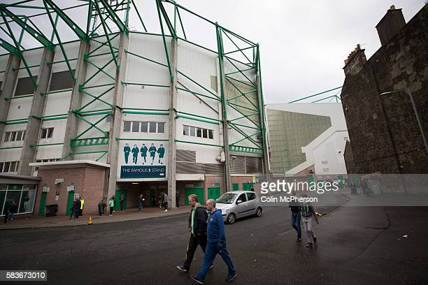 Fans walking past the Famous Five Stand at Easter Road stadium before the Scottish Championship match between Hibernian and visitors Alloa Athletic...
