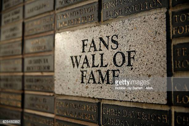 Fans wall of fame outside Keepmoat Stadium home stadium of Doncaster Rovers during the Sky Bet League Two match between Doncaster Rovers and...