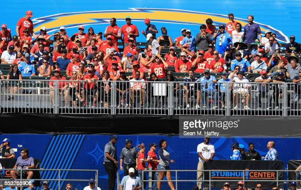 Fans watch a game between the Los Angeles Chargers and the Kansas City Chiefs at StubHub Center on September 24 2017 in Carson California