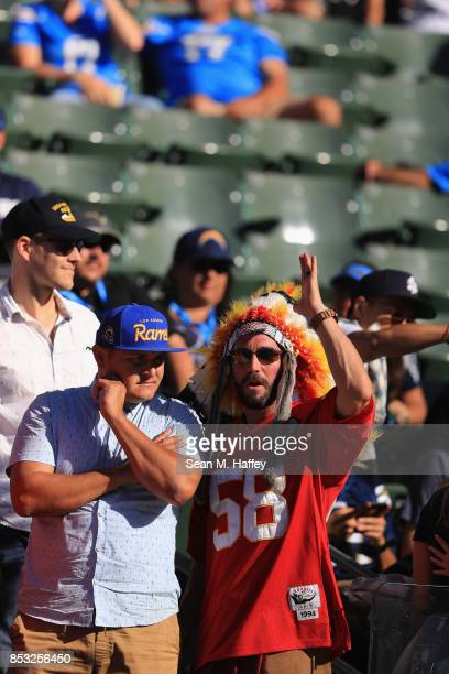 Fans watch a game between the Los Angeles Chargers and the Kansas City Chiefs during the second half at StubHub Center on September 24 2017 in Carson...