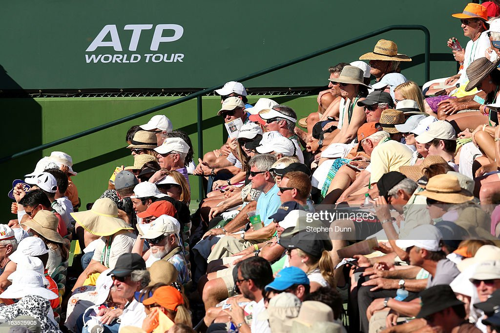 Fans watch a match on Stadium Court Two during day 6 of the BNP Paribas Open at Indian Wells Tennis Garden on March 11, 2013 in Indian Wells, California. (Photo by Stephen Dunn/Getty Images).