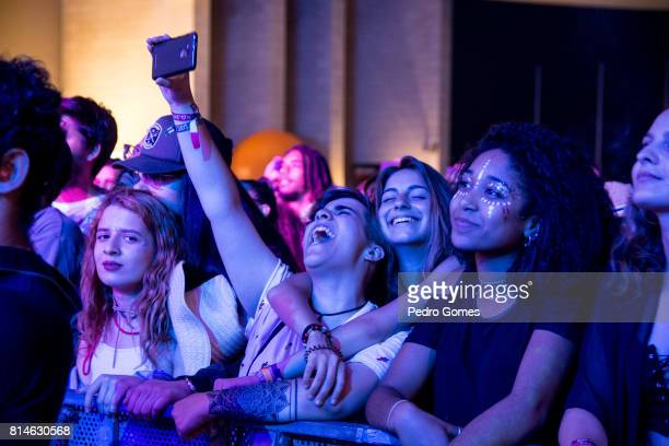 Fans watch Akua Naru perform on EDP stage at day 2 of Super Bock Super Rock festival on July 14 2017 in Lisbon Portugal