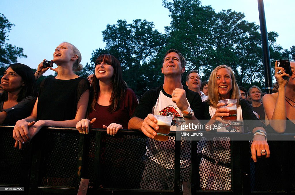 Fans watch as Ben Folds Five performs at SummerStage at Rumsey Playfield, Central Park on September 14, 2012 in New York City.