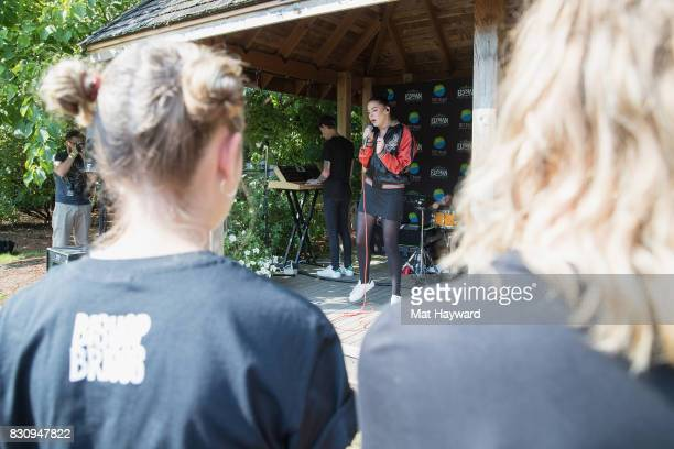 Fans watch as Bishop Briggs performs during an EndSession backstage at the Summer Camp Music Festival hosted by 1077 the End at Marymoor Park on...