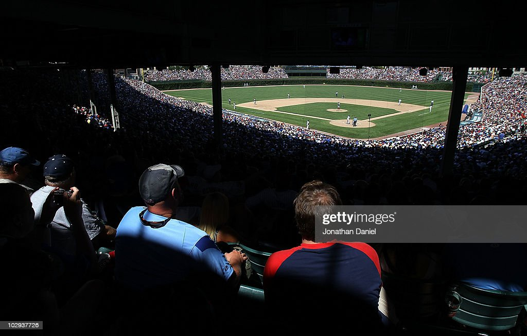 Fans watch as the Chicago Cubs take on the Philadelphia Phillies at Wrigley Field on July 16, 2010 in Chicago, Illinois. The Cubs defeated the Phillies 4-3.
