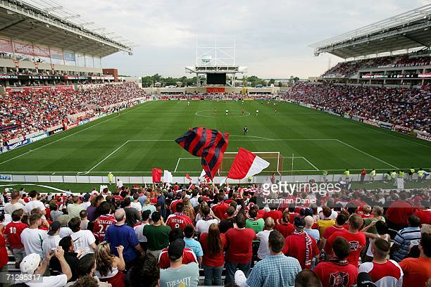 Fans watch as the Chicago Fire open their new stadium Toyota Park with a game between the Fire and the New York Red Bulls June 25 2006 in Bridgeview...