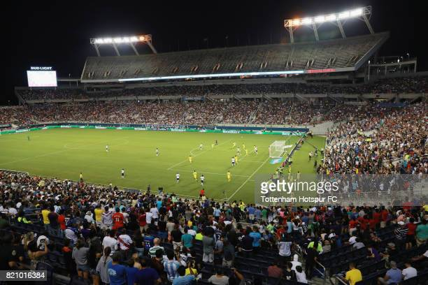 Fans watch as Tottenham Hotspurs battles against Paris SaintGermain during a International Champions Cup 2017 game at Camping World Stadium on July...