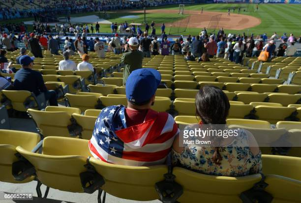 Fans watch batting practice before Game 3 of the Championship Round of the 2017 World Baseball Classic between Team USA and Team Puerto Rico on...
