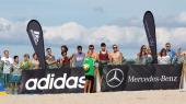 Fans watch beachsoccer during the semifinal match between BeachKick Berlin and Beach Royals Duesseldorf on day one of the DFB Beachscoccer Cup at the...