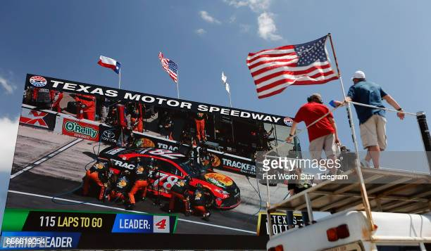NASCAR fans watch 'Big Hoss TV' during the O'Reilly Auto Parts 500 on Sunday April 9 2017 at Texas Motor Speedway in Fort Worth Texas