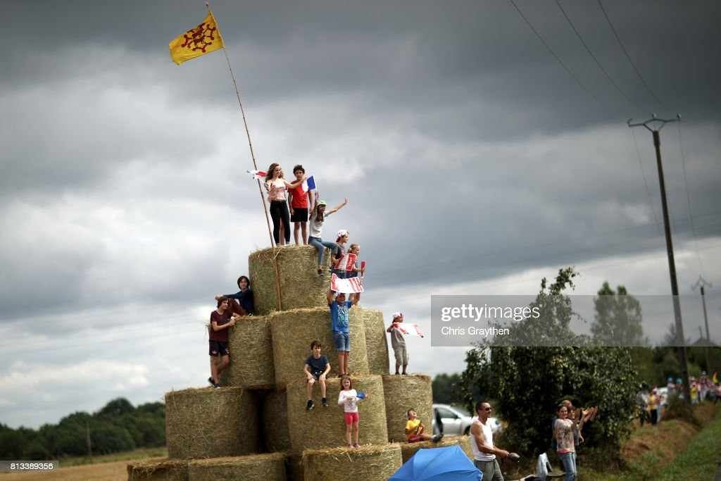 Fans watch during stage 11 of the 2017 Le Tour de France, a 203.5km stage from Eymet to Pau on July 12, 2017 in Eymet, France.