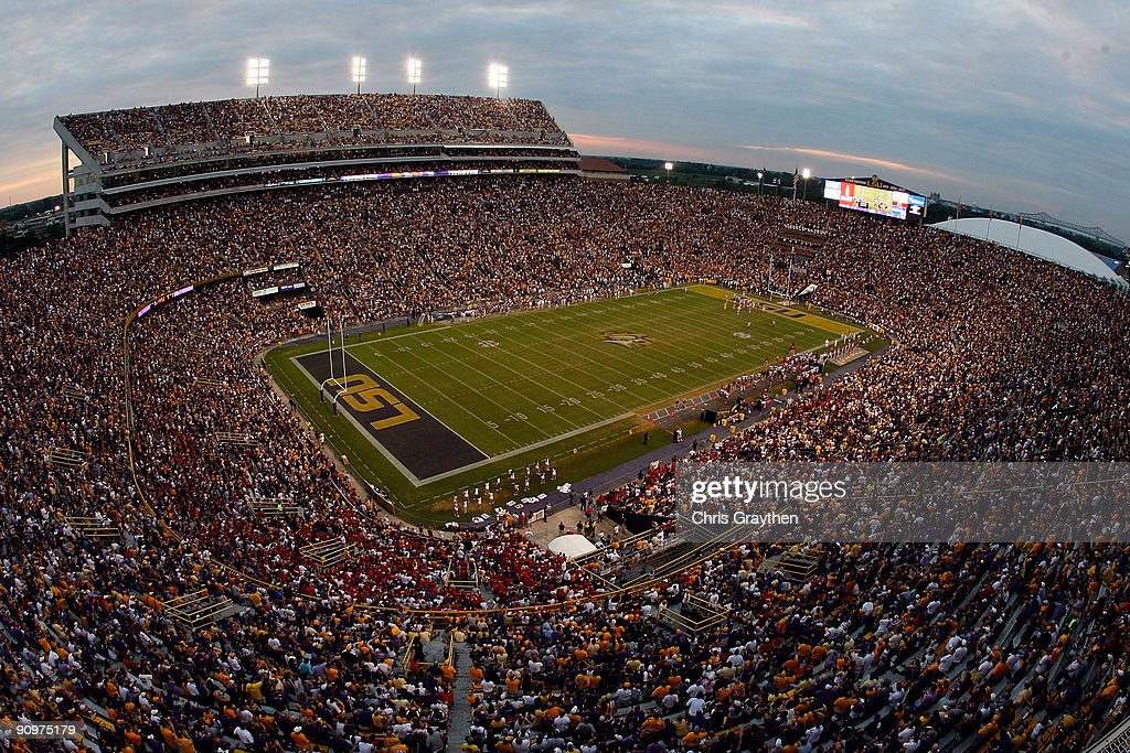 Fans watch during the game between the Louisiana State University Tigers and the University of LouisianaLafatette Ragin' Cajuns at Tiger Stadium on...