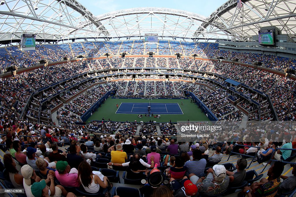Fans watch from Arthur Ashe Stadium as <a gi-track='captionPersonalityLinkClicked' href=/galleries/search?phrase=Serena+Williams+-+Tennis+Player&family=editorial&specificpeople=171101 ng-click='$event.stopPropagation()'>Serena Williams</a> of the United States plays against <a gi-track='captionPersonalityLinkClicked' href=/galleries/search?phrase=Kiki+Bertens&family=editorial&specificpeople=7945371 ng-click='$event.stopPropagation()'>Kiki Bertens</a> of the Netherlands during their Women's Singles Second Round match on Day Three of the 2015 US Open at the USTA Billie Jean King National Tennis Center on September 2, 2015 in the Flushing neighborhood of the Queens borough of New York City.