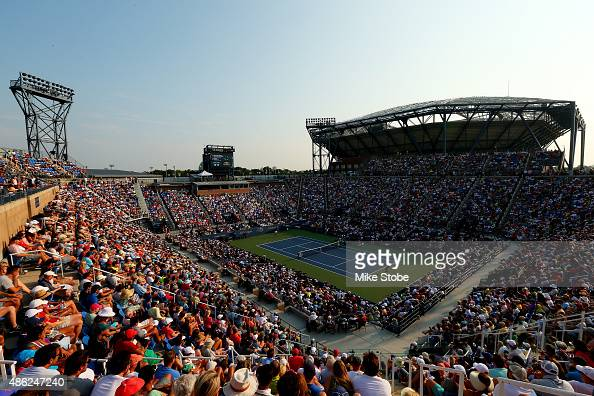 Fans watch from Louis Armstrong Stadium as Rafael Nadal of Spain plays against Diego Schwartzman of Argentina during their Men's Singles Second Round...