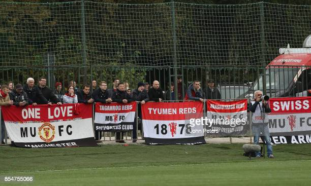 Fans watch from the stands during the UEFA Youth League match between CSKA Moskva U19s and Manchester United U19s at Oktyabr Stadium on September 27...