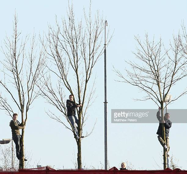 Fans watch from up trees during the Barclays Premier League match between Stoke City and Manchester United at the Britannia Stadium on December 26...