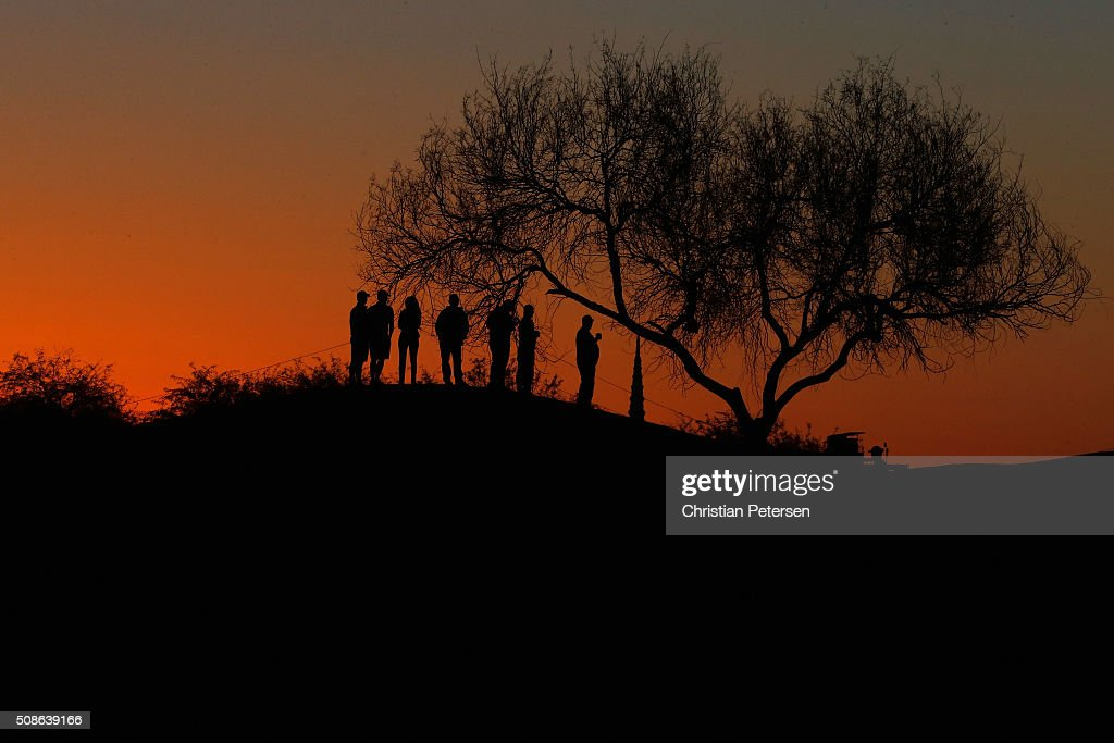 Fans watch golf along the ninth fairway during the second round of the Waste Management Phoenix Open at TPC Scottsdale on February 5, 2016 in Scottsdale, Arizona.