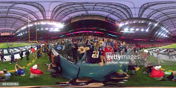 Fans watch in the first half during Super Bowl 51 at NRG Stadium on February 5 2017 in Houston Texas