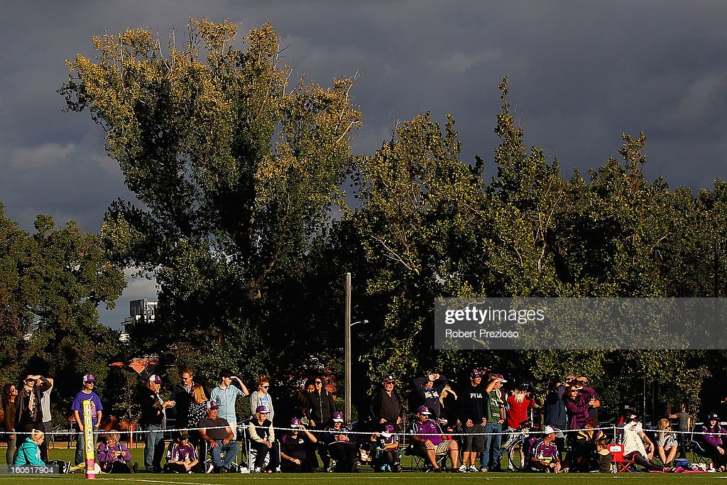 Fans watch on during the NRL trial match between the Melbourne Storm and Brisbane Easts at Gosch's Paddock on February 2, 2013 in Melbourne, Australia.