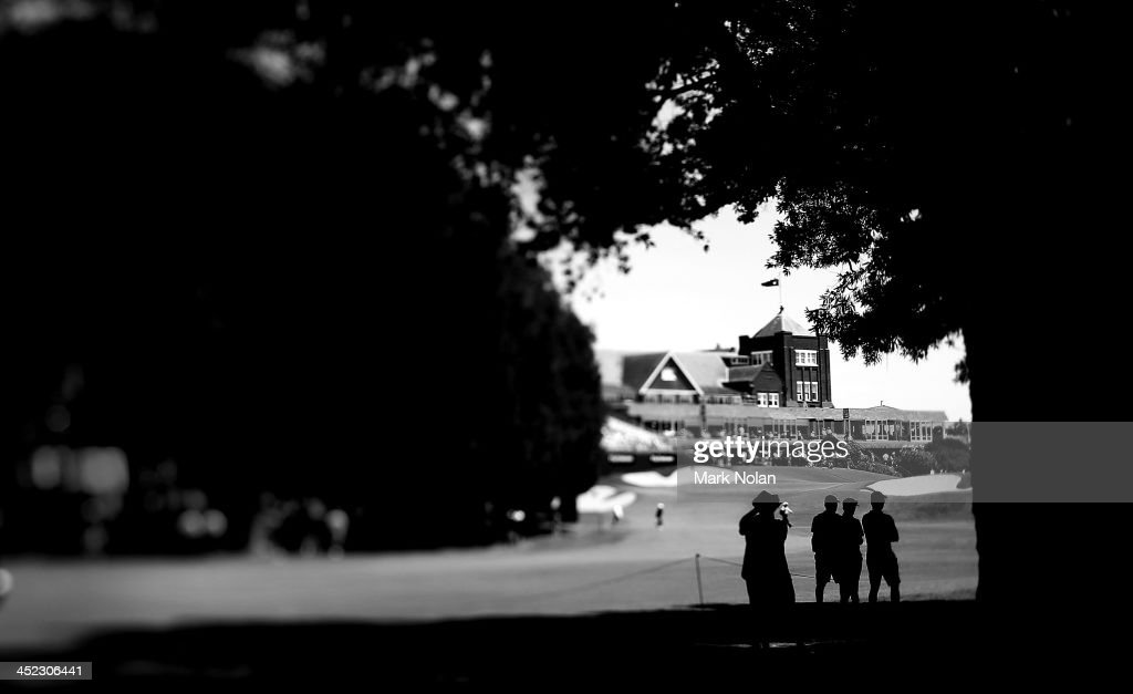 Fans watch over the 18th hole during day one of the 2013 Australian Open at Royal Sydney Golf Club on November 28, 2013 in Sydney, Australia.