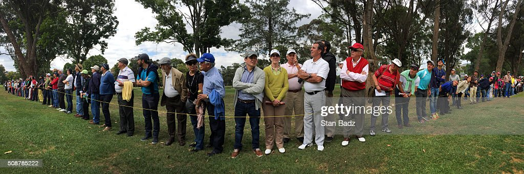 Fans watch play along the first fairway during the third round of the Web.com Tour Club Colombia Championship Presented by Claro at Bogotá Country Club on February 6, 2016 in Bogotá, Colombia.