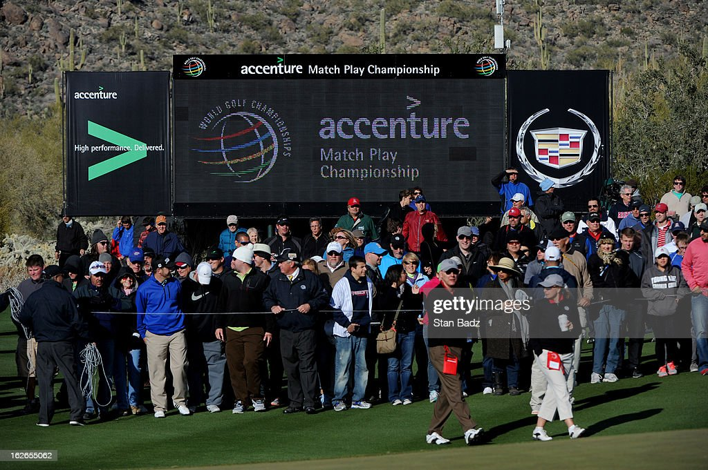 Fans watch play on the 17th hole during the final round of the World Golf Championships-Accenture Match Play Championship at The Golf Club at Dove Mountain on February 24, 2013 in Marana, Arizona.