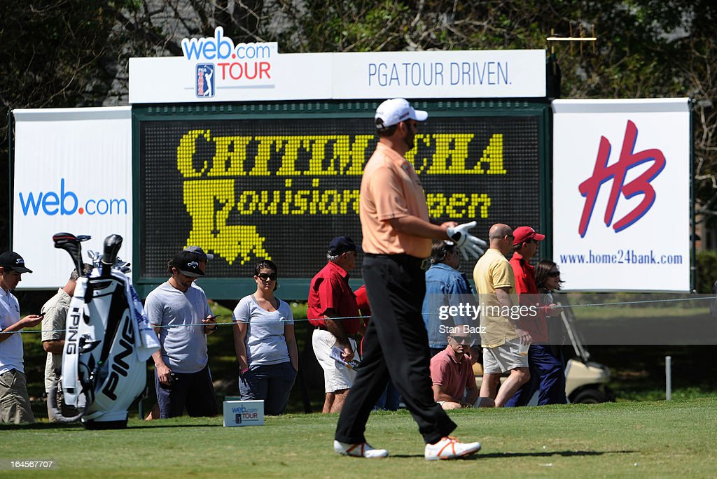 Fans watch play on the seventh hole during the final round of the Chitimacha Louisiana Open at Le Triomphe Country Club on March 24, 2013 in Broussard, Louisiana.