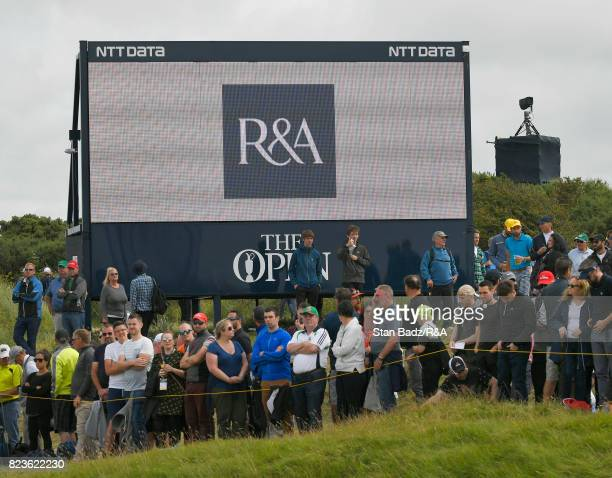 Fans watch play on the tenth hole during the final round of the 146th Open Championship at Royal Birkdale on July 23 2017 in Southport England