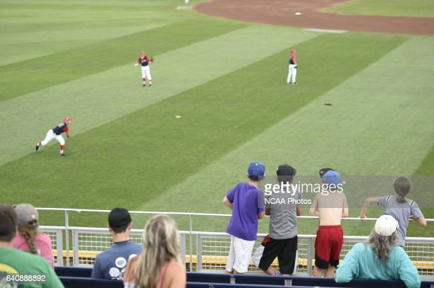 Fans watch players warm up before the start of Game 3 between the University of Arizona and Coastal Carolina University during the Division I Men's...