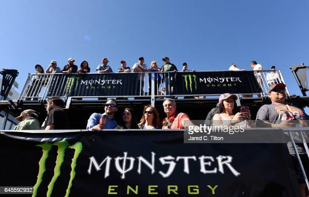 Fans watch prerace activates prior to the 59th Annual DAYTONA 500 at Daytona International Speedway on February 26 2017 in Daytona Beach Florida