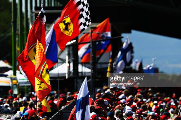 Fans watch the action during qualifying for the Formula One Grand Prix of Hungary at Hungaroring on July 29 2017 in Budapest Hungary