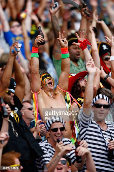 Fans watch the action during the 2015 Auckland Nines at Eden Park on January 31 2015 in Auckland New Zealand