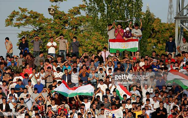 Fans watch the action during the 2018 FIFA World Cup Qualifier match between the Australian Socceroos and Tajikistan at Central Republican Stadium on...