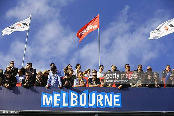 Fans watch the action during the Australian Formula One Grand Prix at Albert Park on March 15 2015 in Melbourne Australia