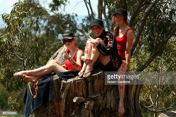 Fans watch the action during the Bathurst 1000 which is round 10 of the V8 Supercars Championship Series at the Mount Panorama circuit on October 12...