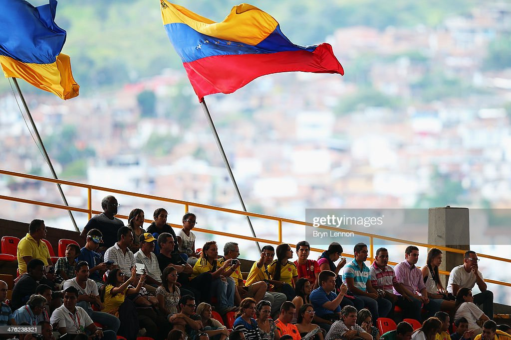 Fans watch the action on day five of the 2014 UCI Track Cycling World Championships at the Velodromo Alcides Nieto Patino on March 2 2014 in Cali...