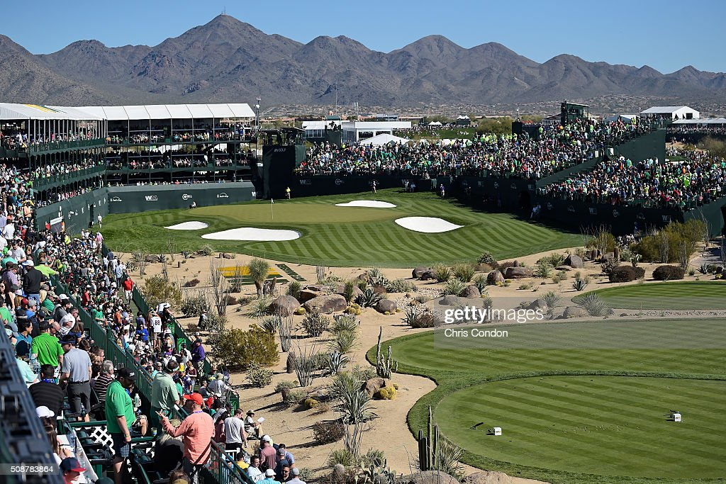 Fans watch the action on the 16th hole during the third round of the Waste Management Phoenix Open, at TPC Scottsdale on February 6, 2016 in Scottsdale, Arizona.