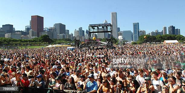 Fans watch the band moe perform at Lollapalooza during the first day at Grant Park on August 3 2007 in Chicago Illinois