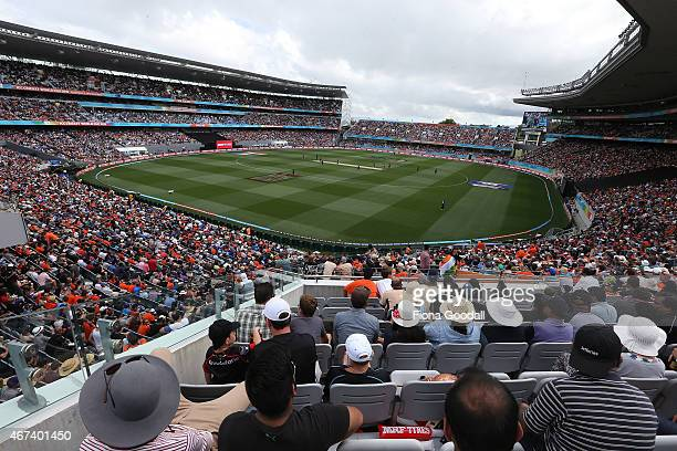 Fans watch the Cricket World Cup semi final between South Africa and New Zealand at Eden Park on March 24 2015 in Auckland New Zealand