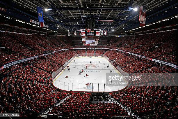Fans watch the game between the Calgary Flames and the Anaheim Ducks at Scotiabank Saddledome for Game Four of the Western Quarterfinals during the...