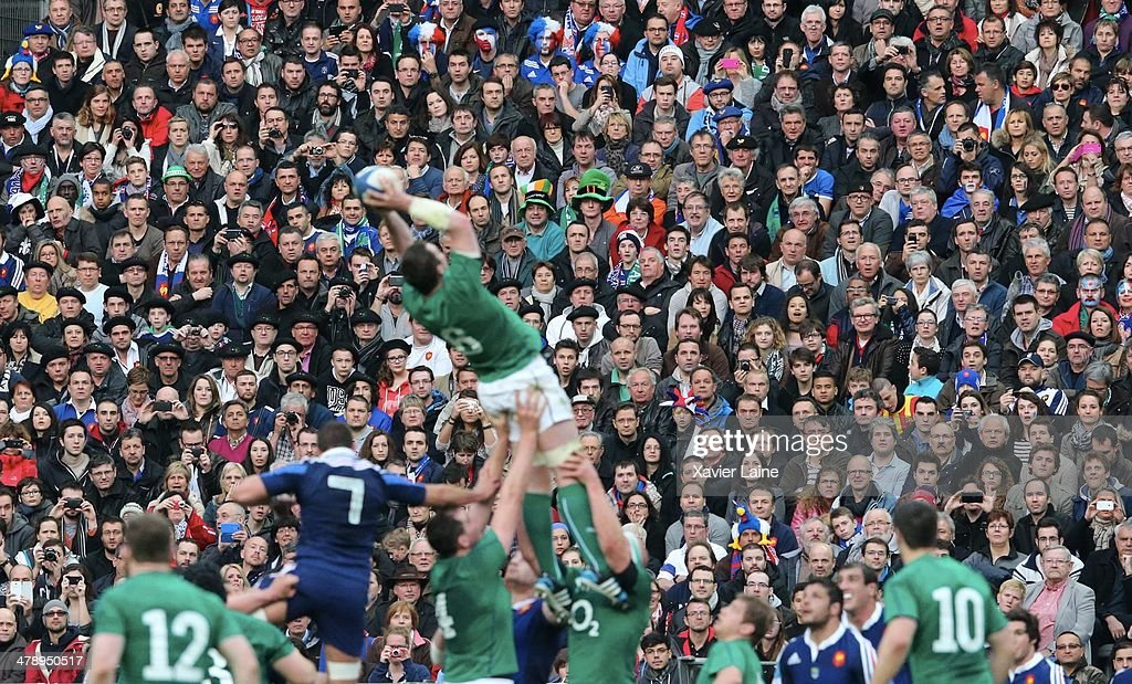 Fans watch the game during the RBS 6 Nations match between France and Ireland at Stade de France on march 15, 2014 in Paris, France.