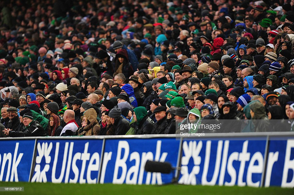 Fans watch the game during the RBS Six Nations match between Ireland and England at Aviva Stadium on February 10, 2013 in Dublin, Ireland.