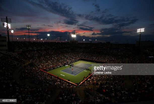 Fans watch the match between Shelby Rogers of the USA and Eugenie Bouchard of Canada during Rogers Cup at Uniprix Stadium on August 5 2014 in...